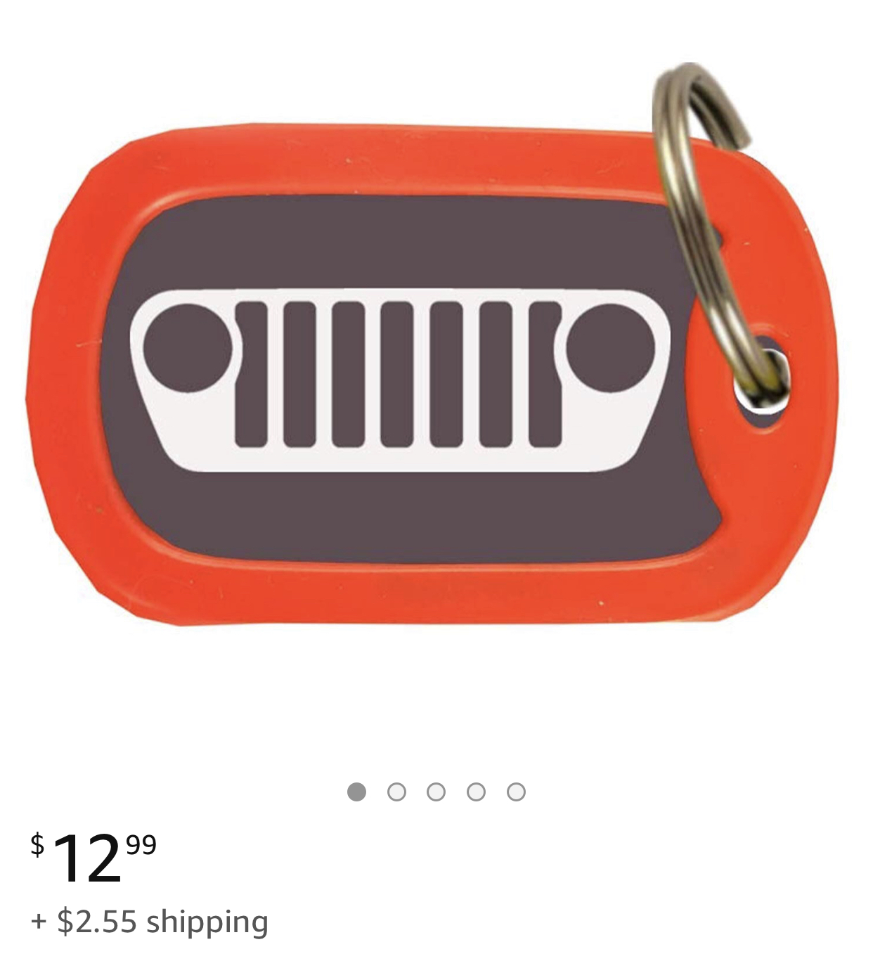 Jeep Wrangler Red Aluminum Oval Key Chain