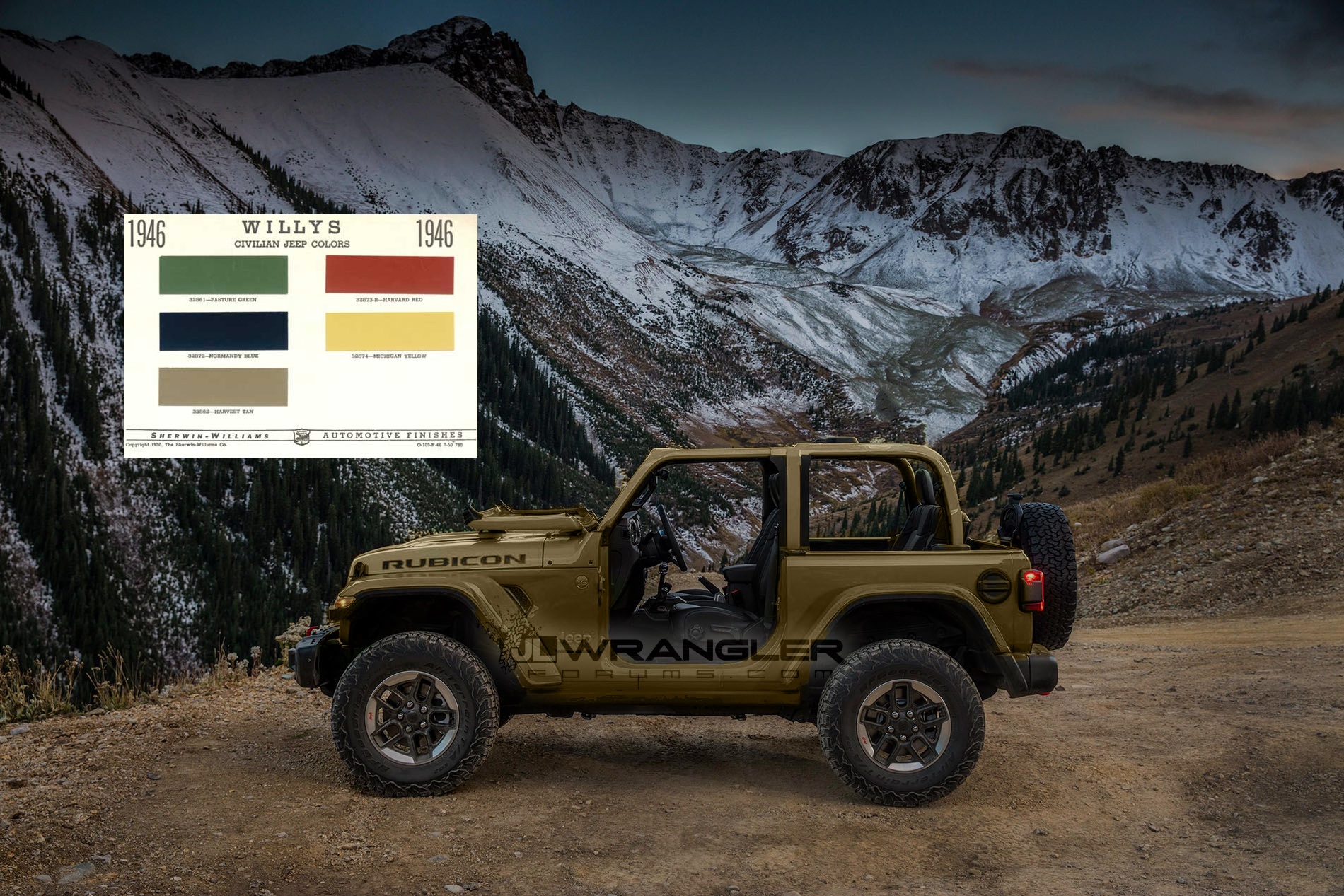 JL Renders with Willys 1946 Colors | 2018+ Jeep Wrangler ...