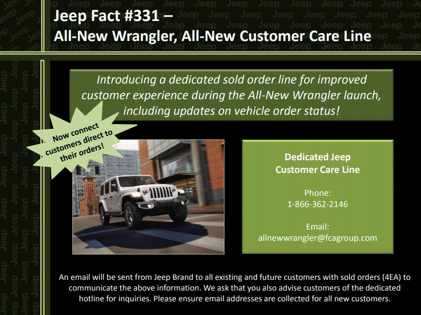 Jeep Customer Service >> Jl Wrangler Jeep Customer Care Hotline 2018 Jeep Wrangler Forums