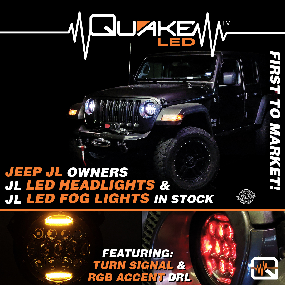 Quake Led Plug And Play Retrofit Jl Headlight Fog Lights Jeep Wrangler Jk Jlwf Head Foglights 1