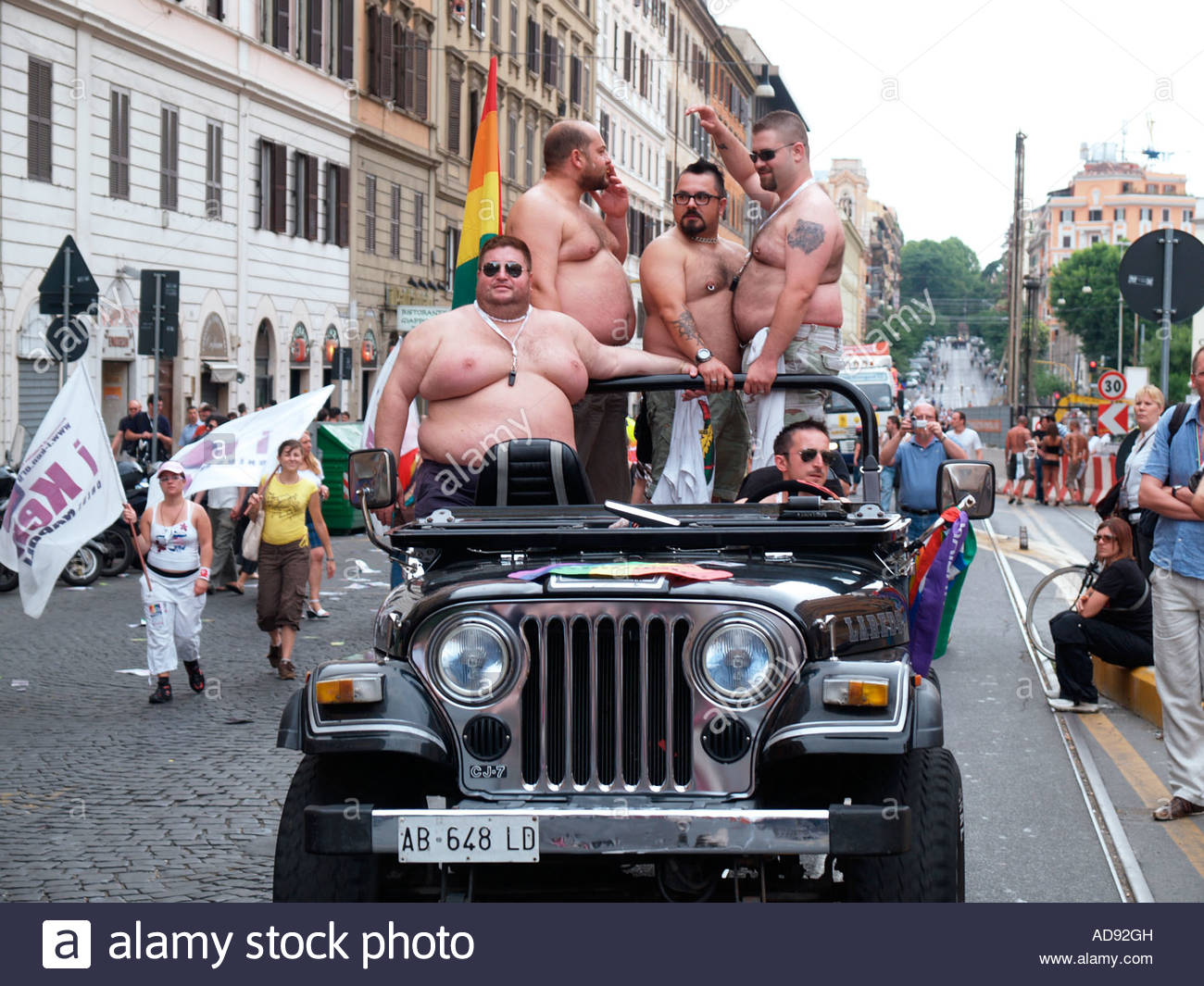 overweight-gay-men-on-jeep-at-gay-pride-rome-2007-AD92GH.jpg