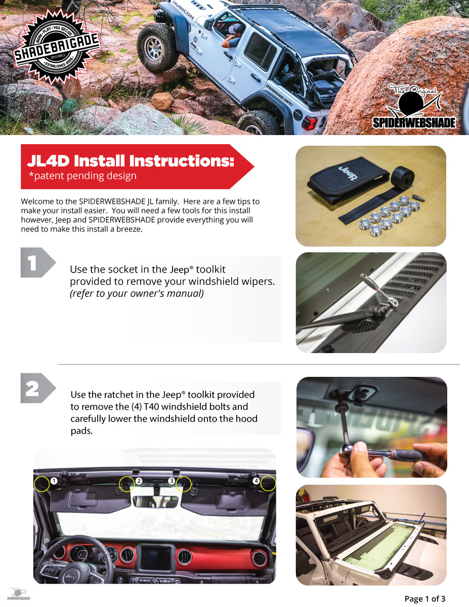 Spiderwebshade Jl4d Official Install Instructions Released 2018 Jeep Freedom Top Sws Jl Install1