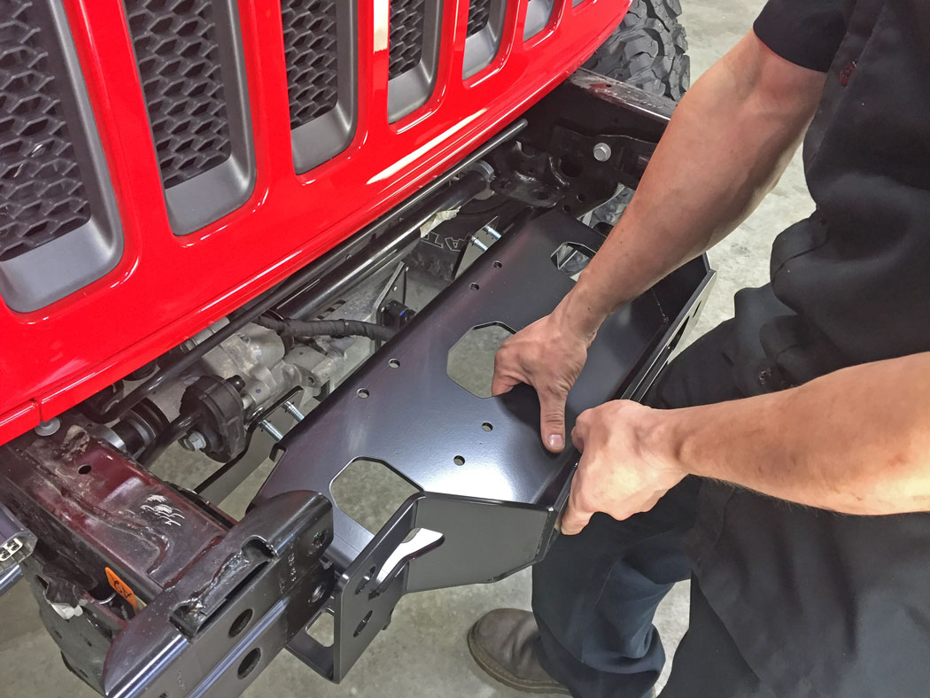 Warn Jl Rubicon Winch Mount Plate And Zeon 10 S Install 2018 Jeep Wiring A The Between Frame Rails Bolt It Up To Brackets Using Included M10x15 Carriage Bolts Hex Nuts