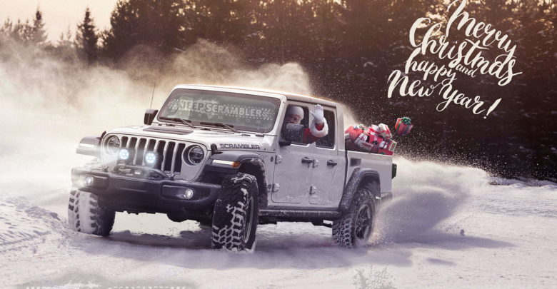 Christmas Jeep.Happy Holidays And Merry Christmas From Us And Santa In His