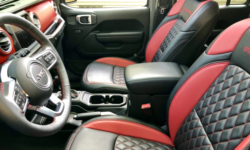 Katzkin Leather Red Black Diamond Stitched Interior For Jl