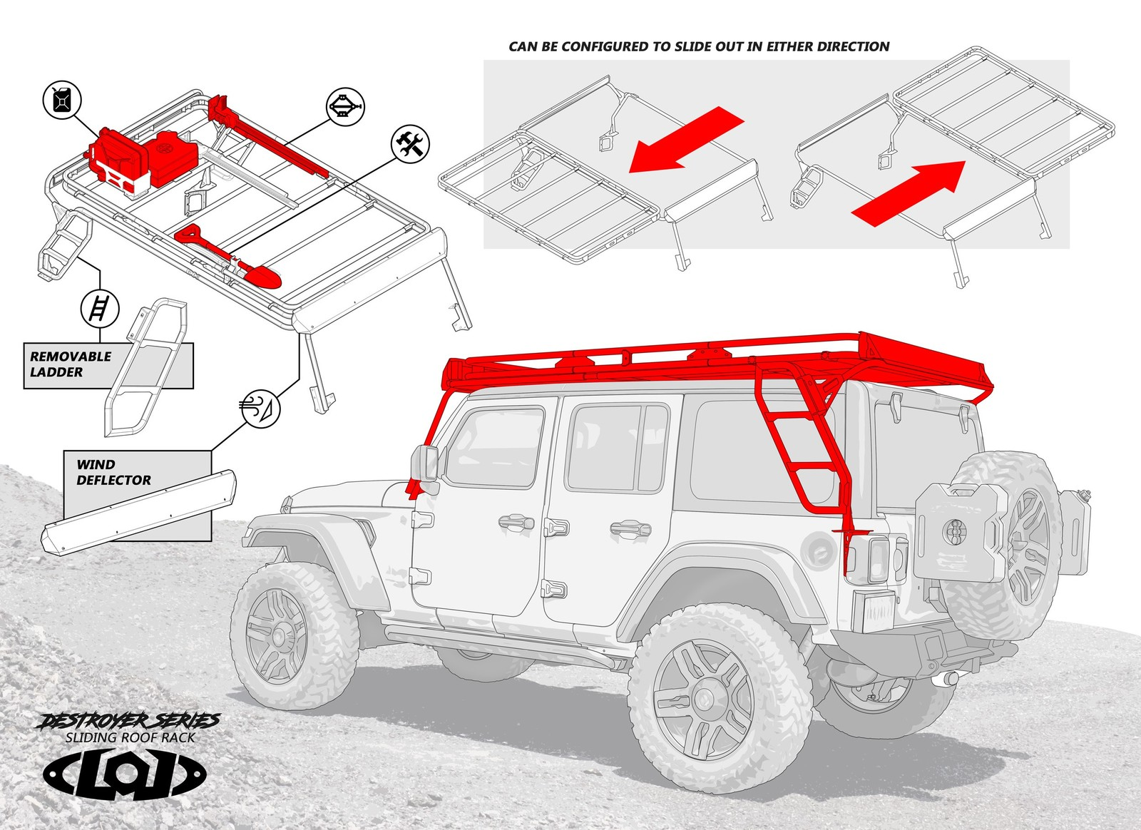 Jl Sliding Roof Rack Preview From Lod Offroad 2018 Jeep