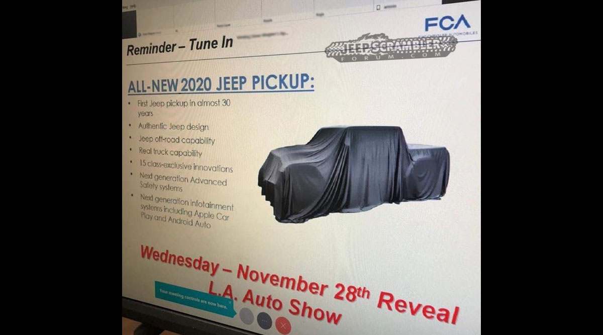 Jeep Pickup Truck Jt To Debut November 28 At La Auto Show 2018