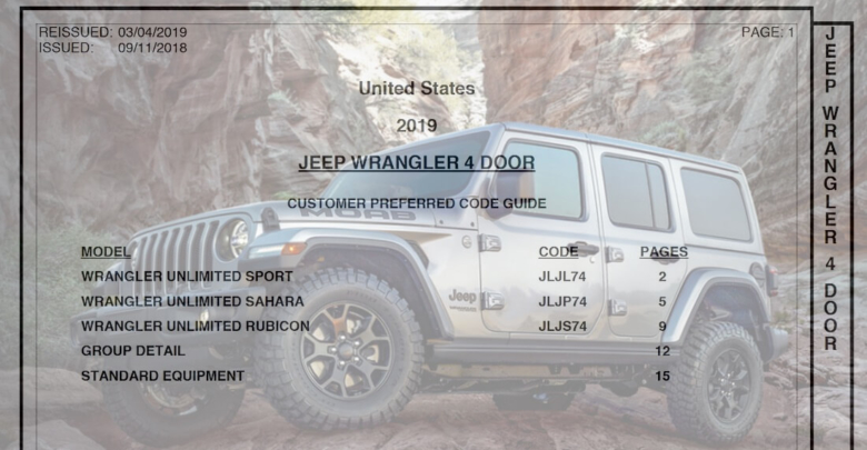 2019 Jeep Wrangler: News, Design, Equippment >> Latest 2019 Jeep Wrangler Jl Order Guide March 2019 2018