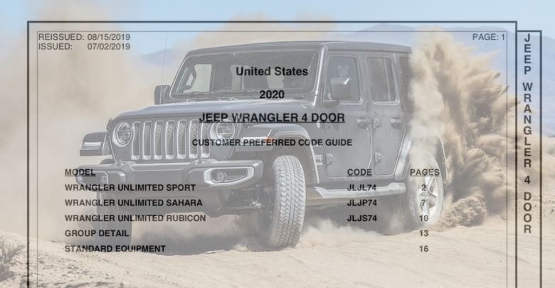 2019 Jeep Wrangler: News, Design, Equippment >> Latest 2020 Jeep Wrangler Jl Order Guide August 2019